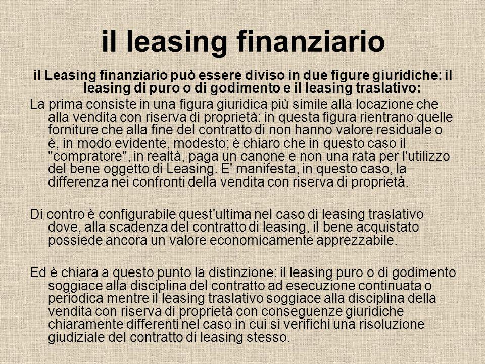 il leasing finanziario il Leasing finanziario può essere diviso in due figure giuridiche: il leasing di puro o di godimento e il leasing traslativo: L