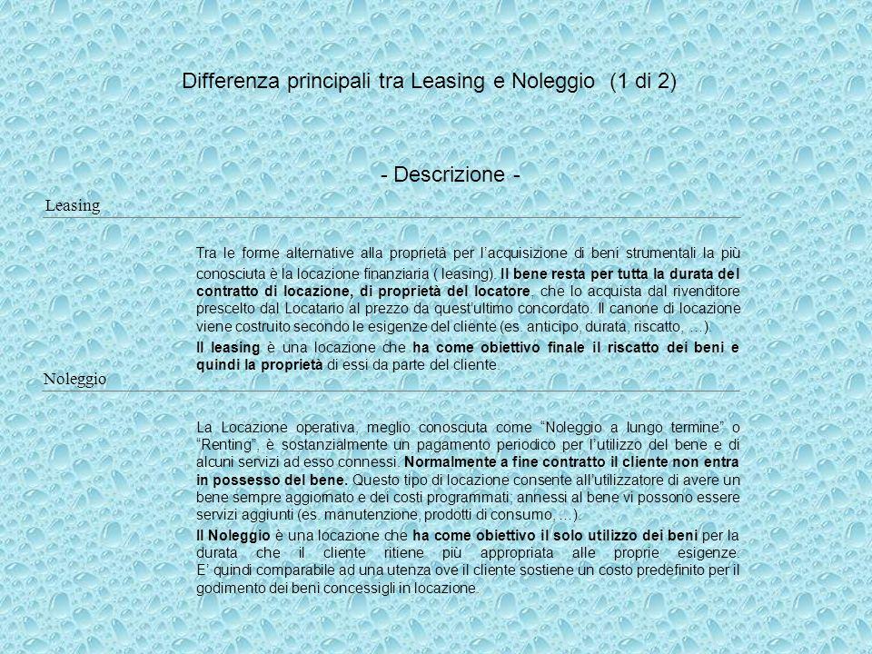 Differenza principali tra Leasing e Noleggio (1 di 2) Tra le forme alternative alla proprietà per lacquisizione di beni strumentali la più conosciuta