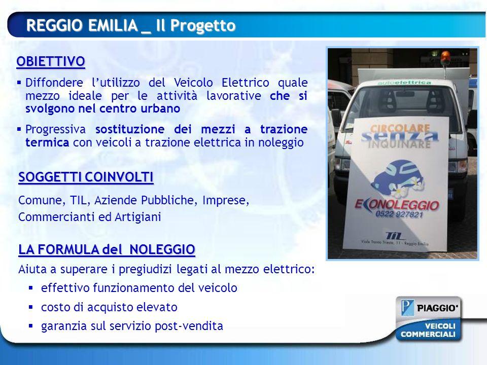 REGGIO EMILIA _ Il Progetto OBIETTIVO Diffondere lutilizzo del Veicolo Elettrico quale mezzo ideale per le attività lavorative che si svolgono nel cen