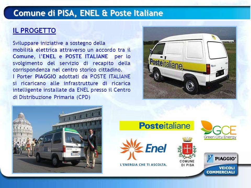 Comune di PISA, ENEL & Poste Italiane IL PROGETTO Sviluppare iniziative a sostegno della mobilità elettrica attraverso un accordo tra il Comune, lENEL