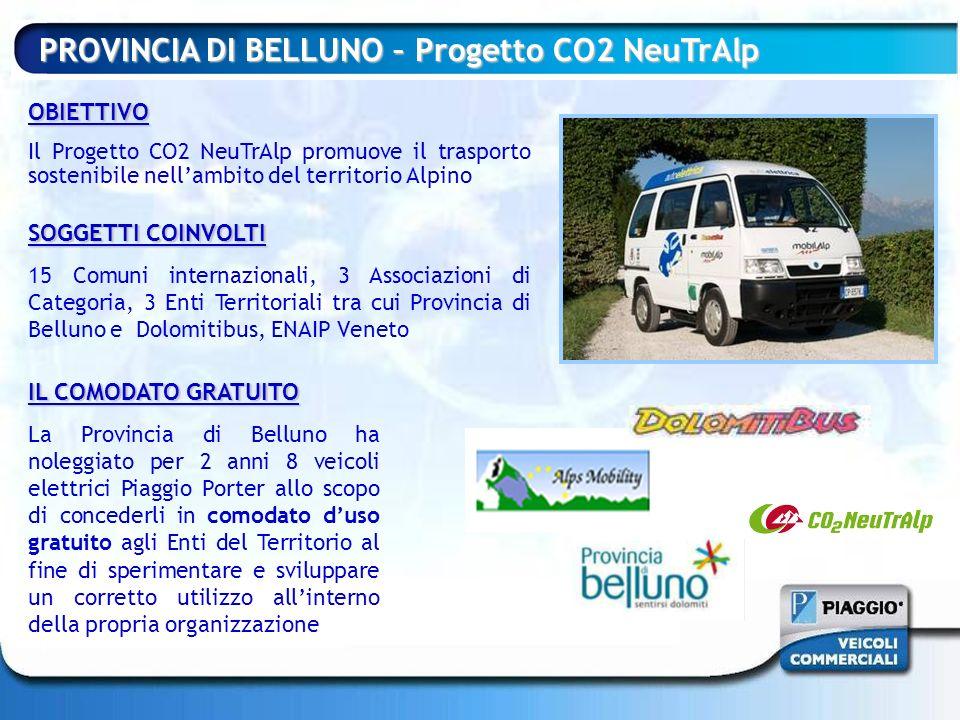 OBIETTIVO Il Progetto CO2 NeuTrAlp promuove il trasporto sostenibile nellambito del territorio Alpino PROVINCIA DI BELLUNO – Progetto CO2 NeuTrAlp SOG
