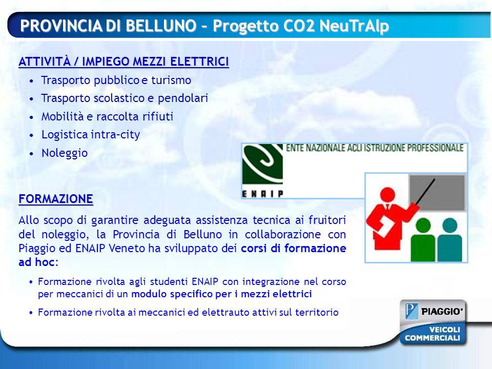 FORMAZIONE Allo scopo di garantire adeguata assistenza tecnica ai fruitori del noleggio, la Provincia di Belluno in collaborazione con Piaggio ed ENAI