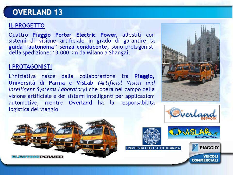 OVERLAND 13 IL PROGETTO Quattro Piaggio Porter Electric Power, allestiti con sistemi di visione artificiale in grado di garantire la guida autonoma se