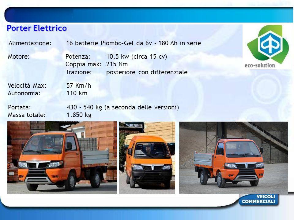 Portata: 430 - 540 kg (a seconda delle versioni) Massa totale:1.850 kg Velocità Max: 57 Km/h Autonomia: 110 km Motore: Potenza: 10,5 kw (circa 15 cv)