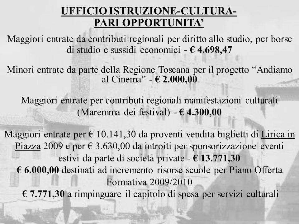 UFFICIO ISTRUZIONE-CULTURA- PARI OPPORTUNITA Maggiori entrate da contributi regionali per diritto allo studio, per borse di studio e sussidi economici