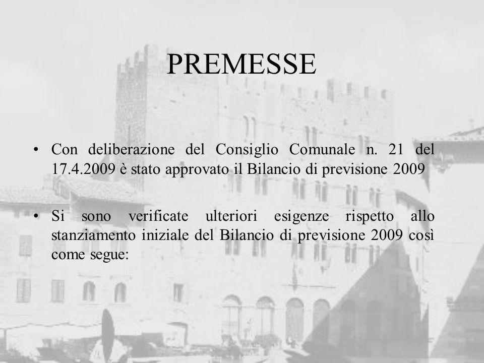 PREMESSE Con deliberazione del Consiglio Comunale n. 21 del 17.4.2009 è stato approvato il Bilancio di previsione 2009 Si sono verificate ulteriori es