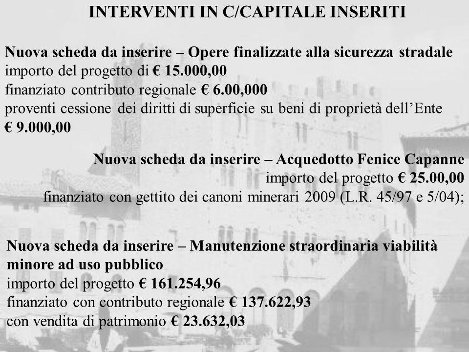 Nuova scheda da inserire – Manutenzione straordinaria viabilità minore ad uso pubblico importo del progetto 161.254,96 finanziato con contributo regio