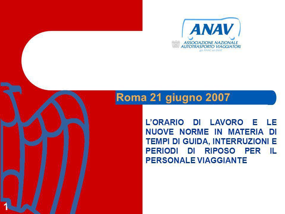 1 LORARIO DI LAVORO E LE NUOVE NORME IN MATERIA DI TEMPI DI GUIDA, INTERRUZIONI E PERIODI DI RIPOSO PER IL PERSONALE VIAGGIANTE Roma 21 giugno 2007
