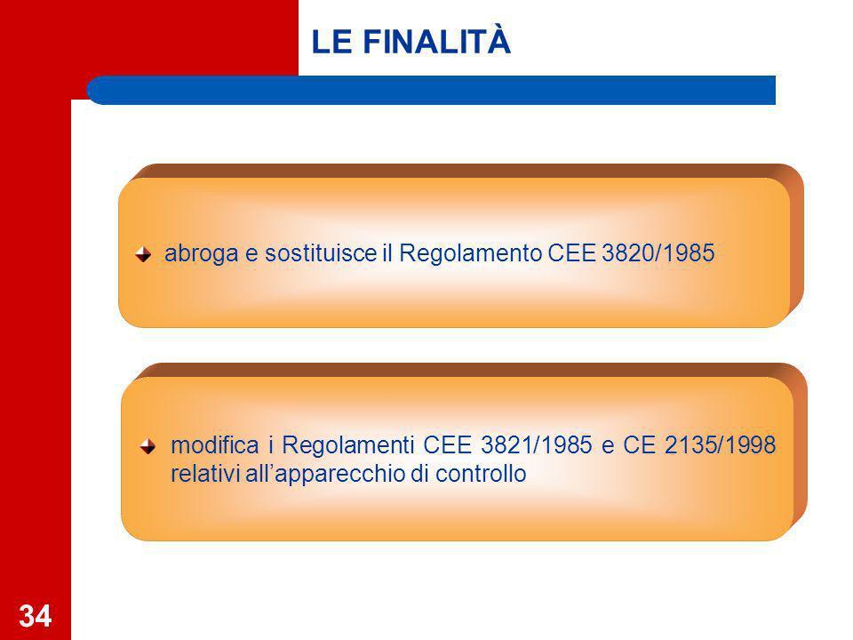 34 modifica i Regolamenti CEE 3821/1985 e CE 2135/1998 relativi allapparecchio di controllo abroga e sostituisce il Regolamento CEE 3820/1985 LE FINALITÀ