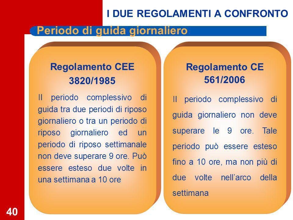 40 Periodo di guida giornaliero Regolamento CE 561/2006 Il periodo complessivo di guida giornaliero non deve superare le 9 ore.