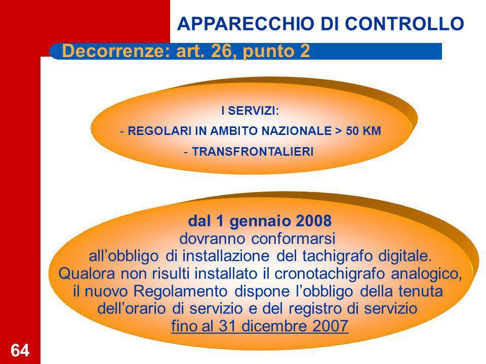64 dal 1 gennaio 2008 dovranno conformarsi allobbligo di installazione del tachigrafo digitale.