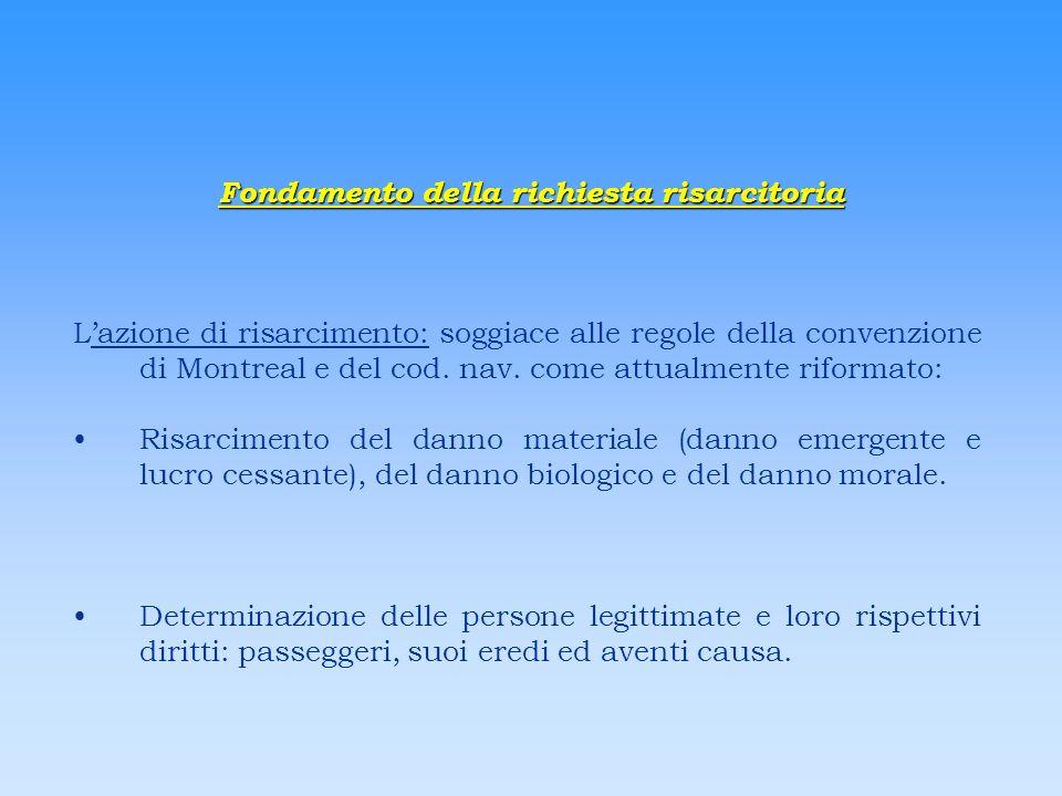 Fondamento della richiesta risarcitoria Lazione di risarcimento: soggiace alle regole della convenzione di Montreal e del cod. nav. come attualmente r