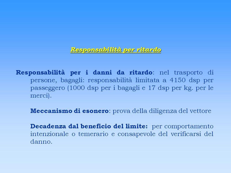 Responsabilità per ritardo Responsabilità per i danni da ritardo : nel trasporto di persone, bagagli: responsabilità limitata a 4150 dsp per passegger