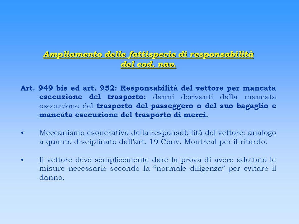 Ampliamento delle fattispecie di responsabilità del cod. nav. Art. 949 bis ed art. 952: Responsabilità del vettore per mancata esecuzione del trasport