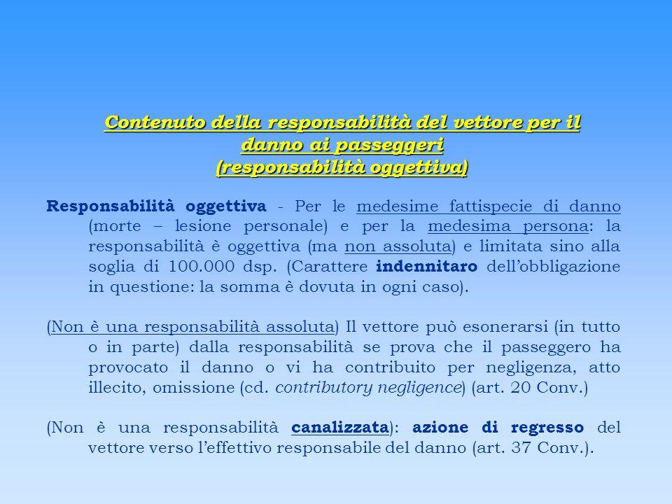 Contenuto della responsabilità del vettore per il danno ai passeggeri (responsabilità oggettiva) Responsabilità oggettiva - Per le medesime fattispeci