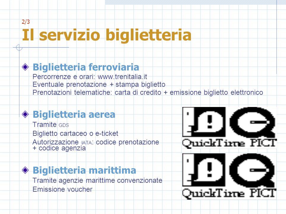 2/3 Il servizio biglietteria Biglietteria ferroviaria Percorrenze e orari: www.trenitalia.it Eventuale prenotazione + stampa biglietto Prenotazioni te