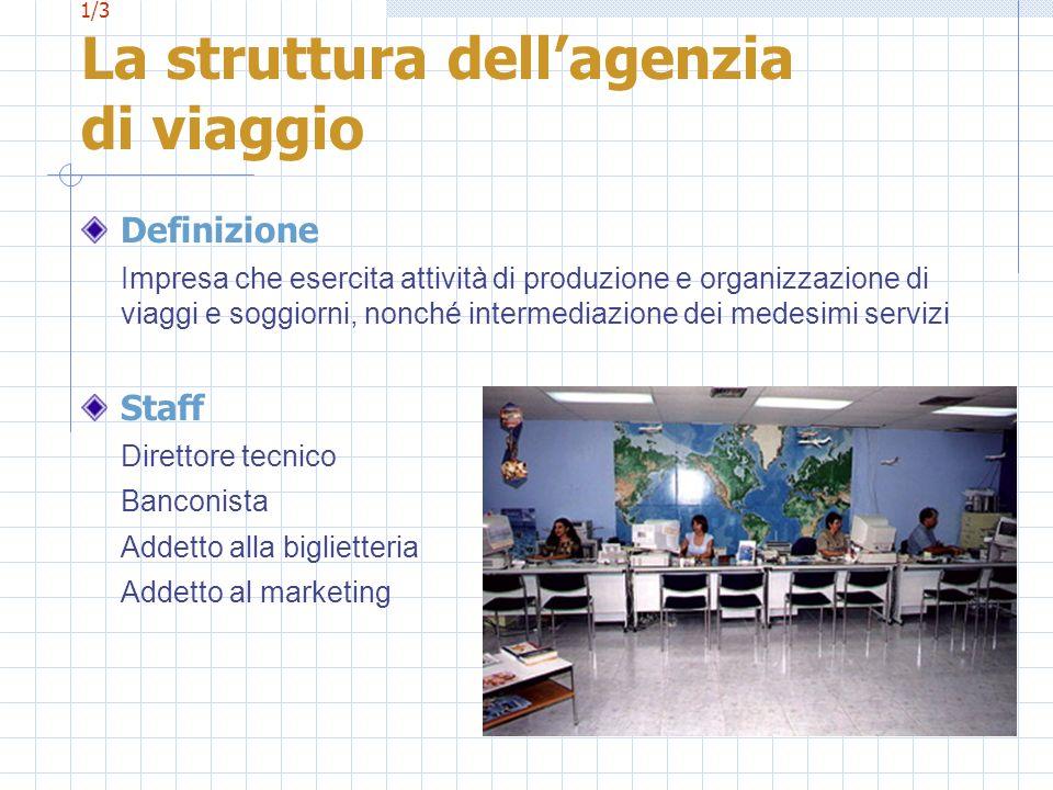1/3 La struttura dellagenzia di viaggio Definizione Impresa che esercita attività di produzione e organizzazione di viaggi e soggiorni, nonché interme