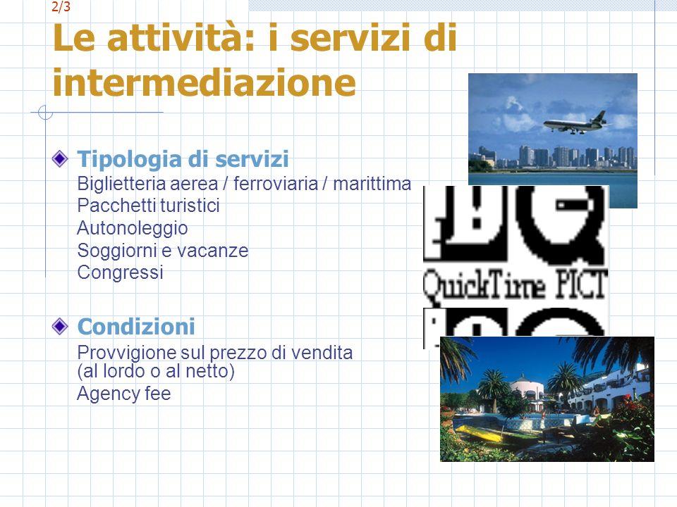 2/3 Le attività: i servizi di intermediazione Tipologia di servizi Biglietteria aerea / ferroviaria / marittima Pacchetti turistici Autonoleggio Soggi