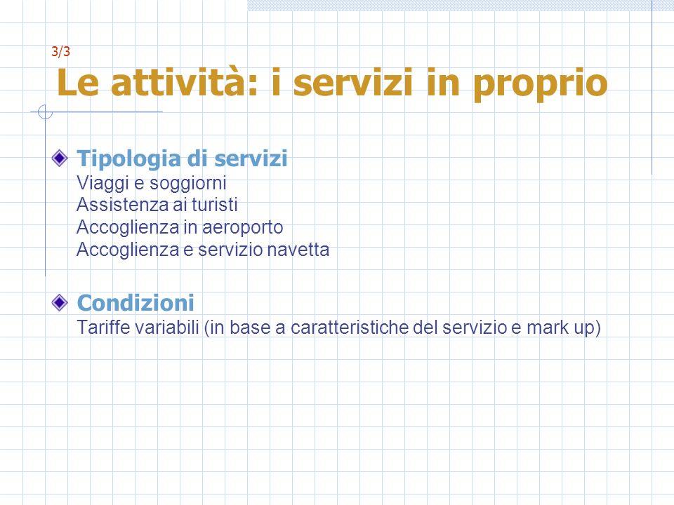 3/3 Le attività: i servizi in proprio Tipologia di servizi Viaggi e soggiorni Assistenza ai turisti Accoglienza in aeroporto Accoglienza e servizio na