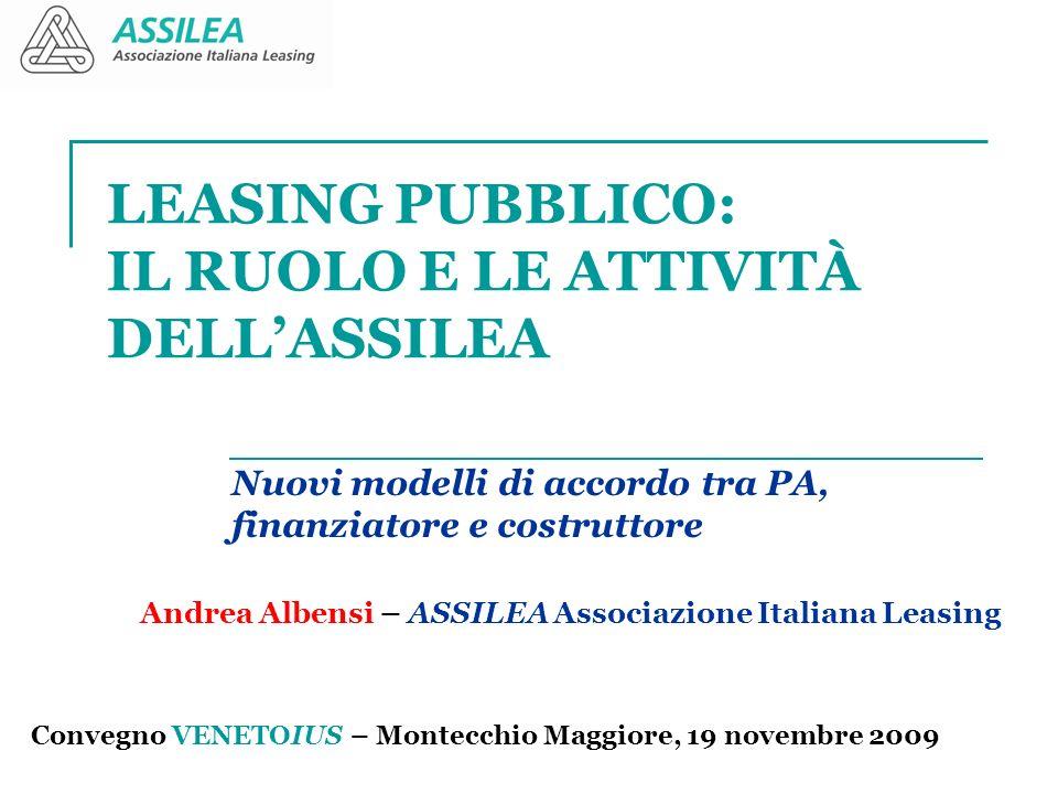 LEASING PUBBLICO: IL RUOLO E LE ATTIVITÀ DELLASSILEA Nuovi modelli di accordo tra PA, finanziatore e costruttore Convegno VENETOIUS – Montecchio Maggi