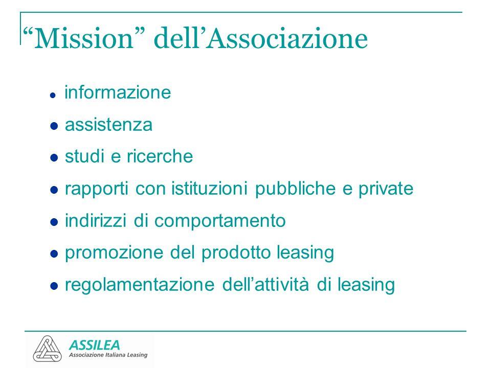 Mission dellAssociazione informazione assistenza studi e ricerche rapporti con istituzioni pubbliche e private indirizzi di comportamento promozione d