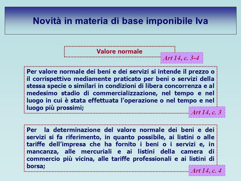 Novità in materia di base imponibile Iva Valore normale Art 14, c. 3-4 Per valore normale dei beni e dei servizi si intende il prezzo o il corrispetti