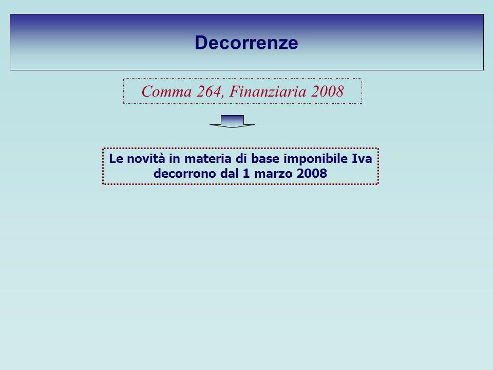 Decorrenze Comma 264, Finanziaria 2008 Le novità in materia di base imponibile Iva decorrono dal 1 marzo 2008