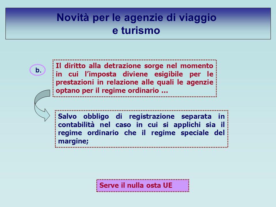 b. Il diritto alla detrazione sorge nel momento in cui limposta diviene esigibile per le prestazioni in relazione alle quali le agenzie optano per il