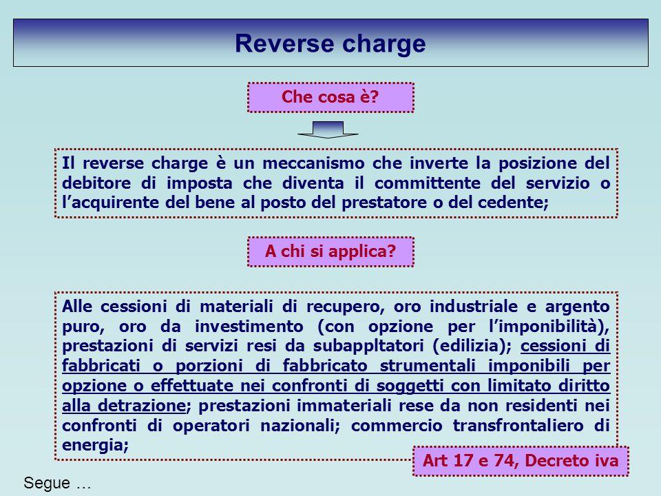 Reverse charge Che cosa è? Il reverse charge è un meccanismo che inverte la posizione del debitore di imposta che diventa il committente del servizio