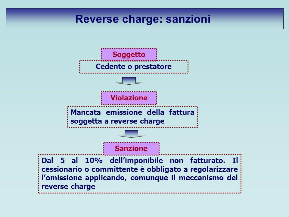 Soggetto Cedente o prestatore Violazione Mancata emissione della fattura soggetta a reverse charge Dal 5 al 10% dellimponibile non fatturato. Il cessi