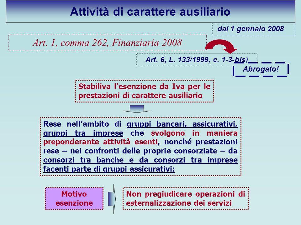 Attività di carattere ausiliario Art. 1, comma 262, Finanziaria 2008 Stabiliva lesenzione da Iva per le prestazioni di carattere ausiliario Rese nella