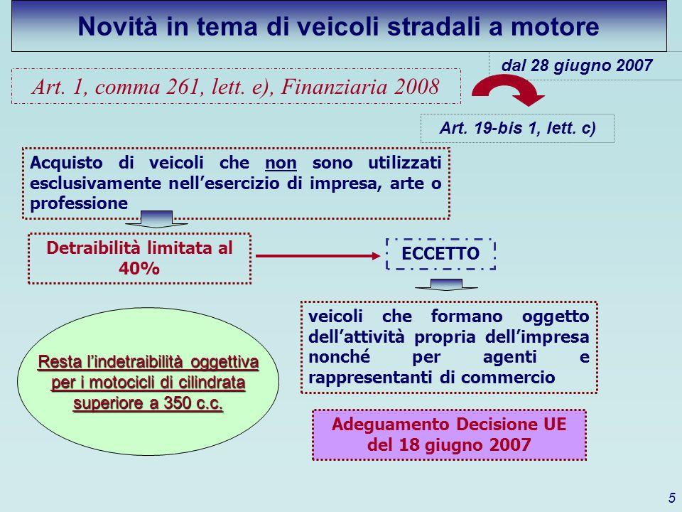 Art. 1, comma 261, lett. e), Finanziaria 2008 Art. 19-bis 1, lett. c) Acquisto di veicoli che non sono utilizzati esclusivamente nellesercizio di impr