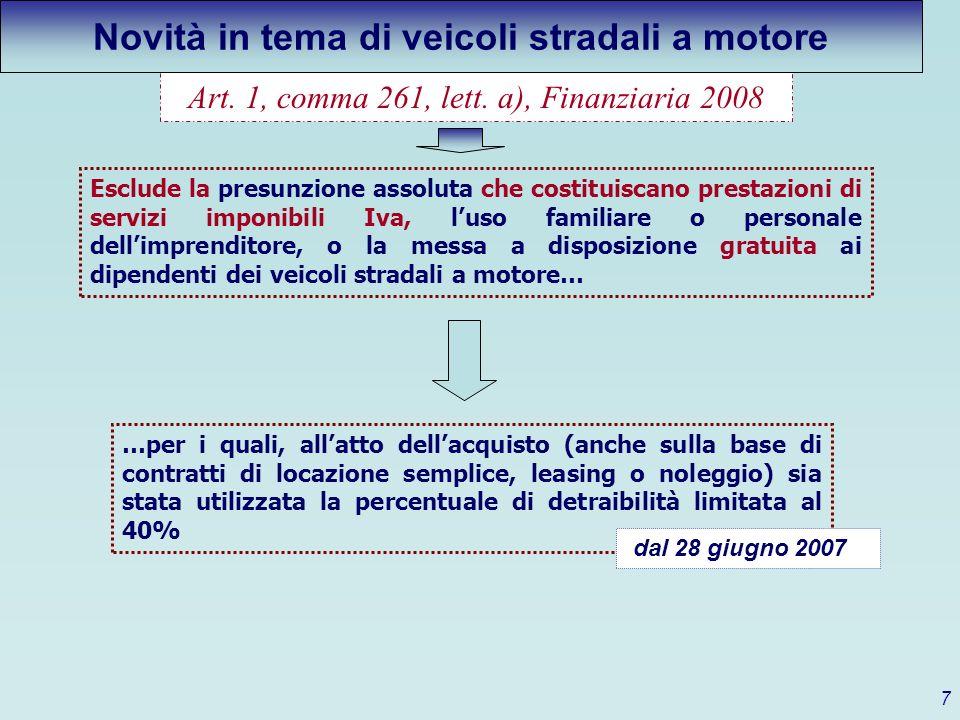 Art. 1, comma 261, lett. a), Finanziaria 2008 Esclude la presunzione assoluta che costituiscano prestazioni di servizi imponibili Iva, luso familiare
