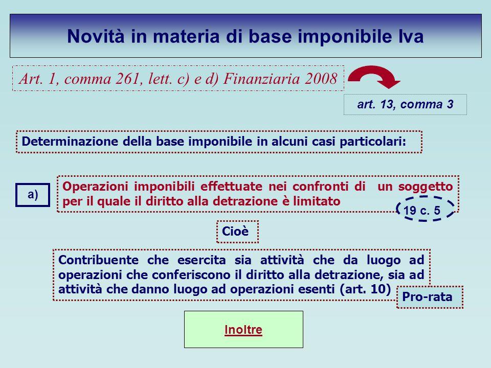 Art. 1, comma 261, lett. c) e d) Finanziaria 2008 Novità in materia di base imponibile Iva art. 13, comma 3 Operazioni imponibili effettuate nei confr