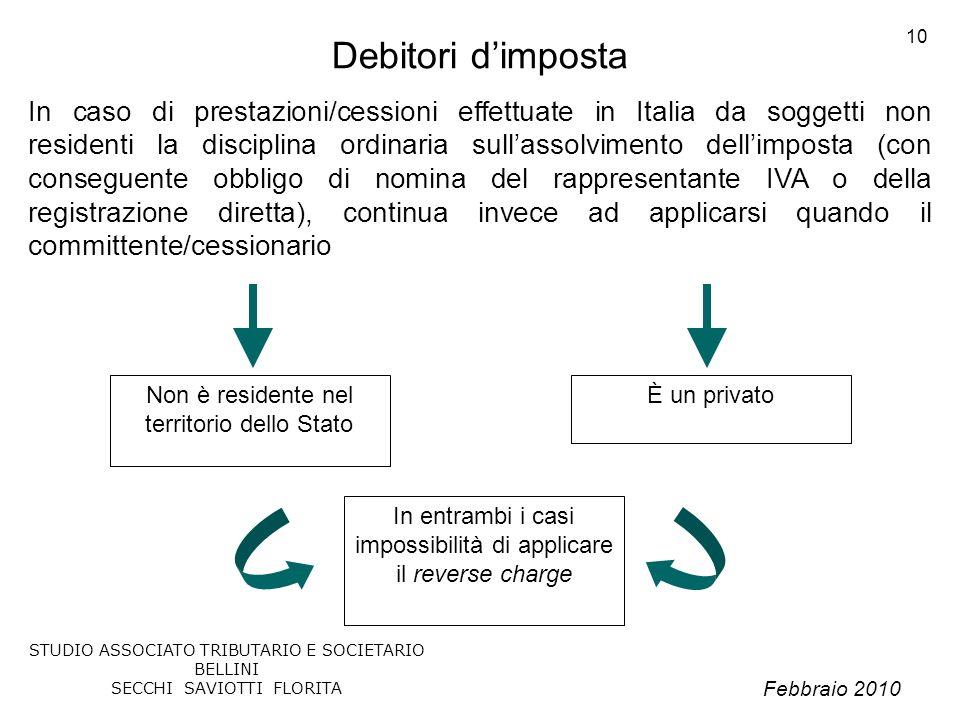 Febbraio 2010 STUDIO ASSOCIATO TRIBUTARIO E SOCIETARIO BELLINI SECCHI SAVIOTTI FLORITA 10 Debitori dimposta In caso di prestazioni/cessioni effettuate