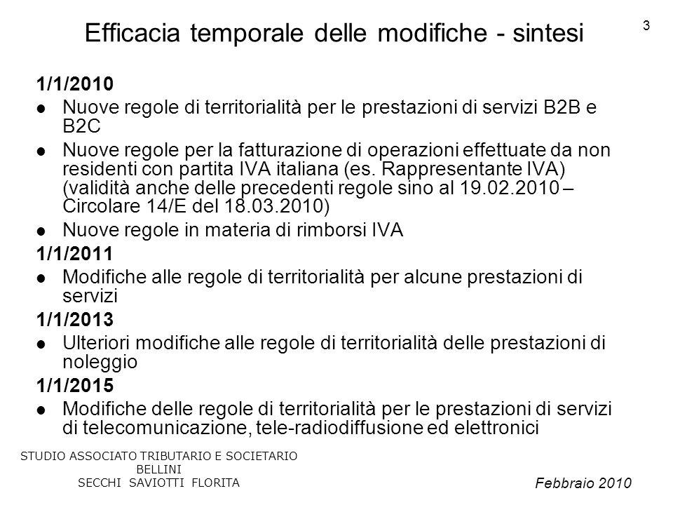 Febbraio 2010 STUDIO ASSOCIATO TRIBUTARIO E SOCIETARIO BELLINI SECCHI SAVIOTTI FLORITA 3 Efficacia temporale delle modifiche - sintesi 1/1/2010 Nuove