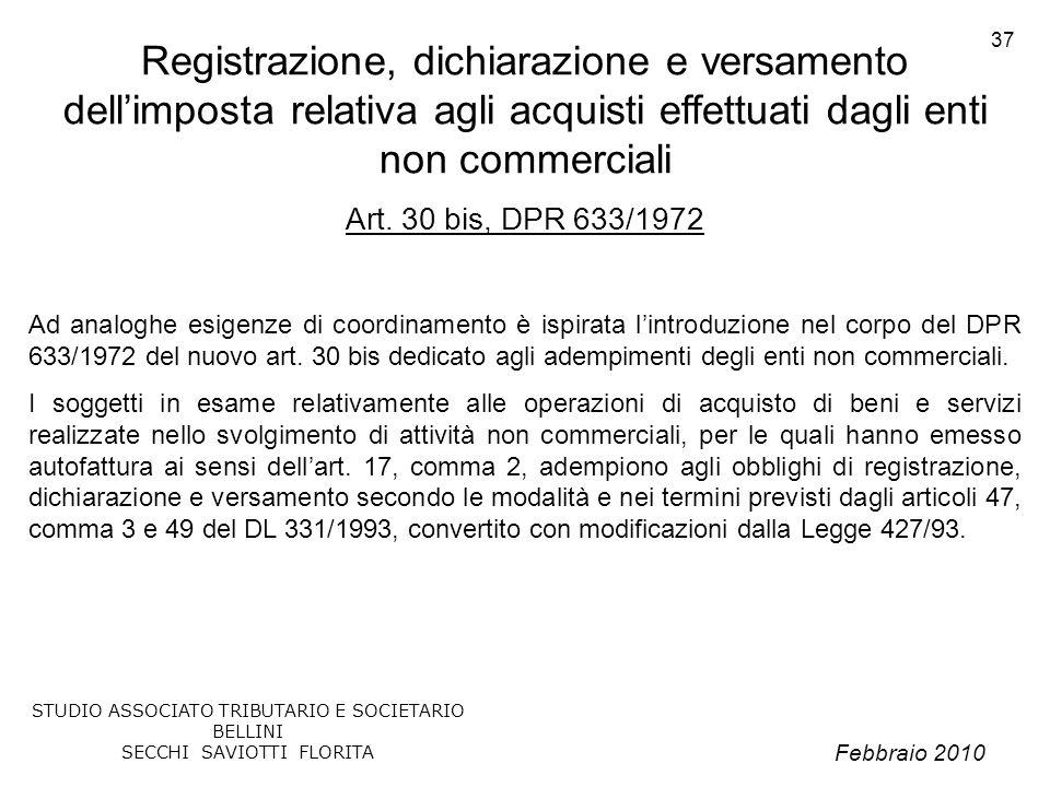 Febbraio 2010 STUDIO ASSOCIATO TRIBUTARIO E SOCIETARIO BELLINI SECCHI SAVIOTTI FLORITA 37 Registrazione, dichiarazione e versamento dellimposta relati
