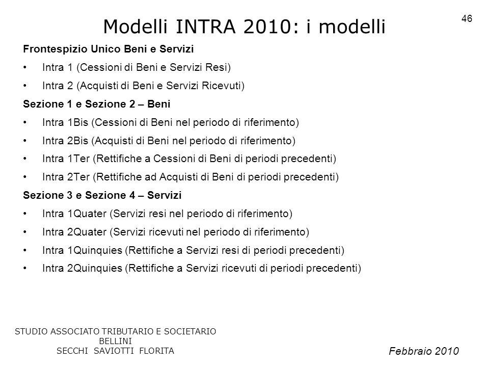 Febbraio 2010 STUDIO ASSOCIATO TRIBUTARIO E SOCIETARIO BELLINI SECCHI SAVIOTTI FLORITA 46 Modelli INTRA 2010: i modelli Frontespizio Unico Beni e Serv