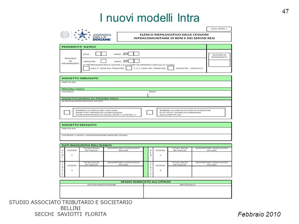 Febbraio 2010 STUDIO ASSOCIATO TRIBUTARIO E SOCIETARIO BELLINI SECCHI SAVIOTTI FLORITA 47 I nuovi modelli Intra