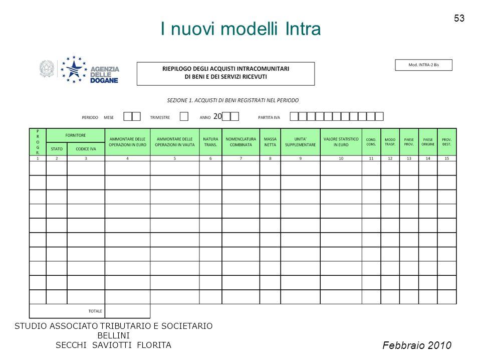 Febbraio 2010 STUDIO ASSOCIATO TRIBUTARIO E SOCIETARIO BELLINI SECCHI SAVIOTTI FLORITA 53 I nuovi modelli Intra