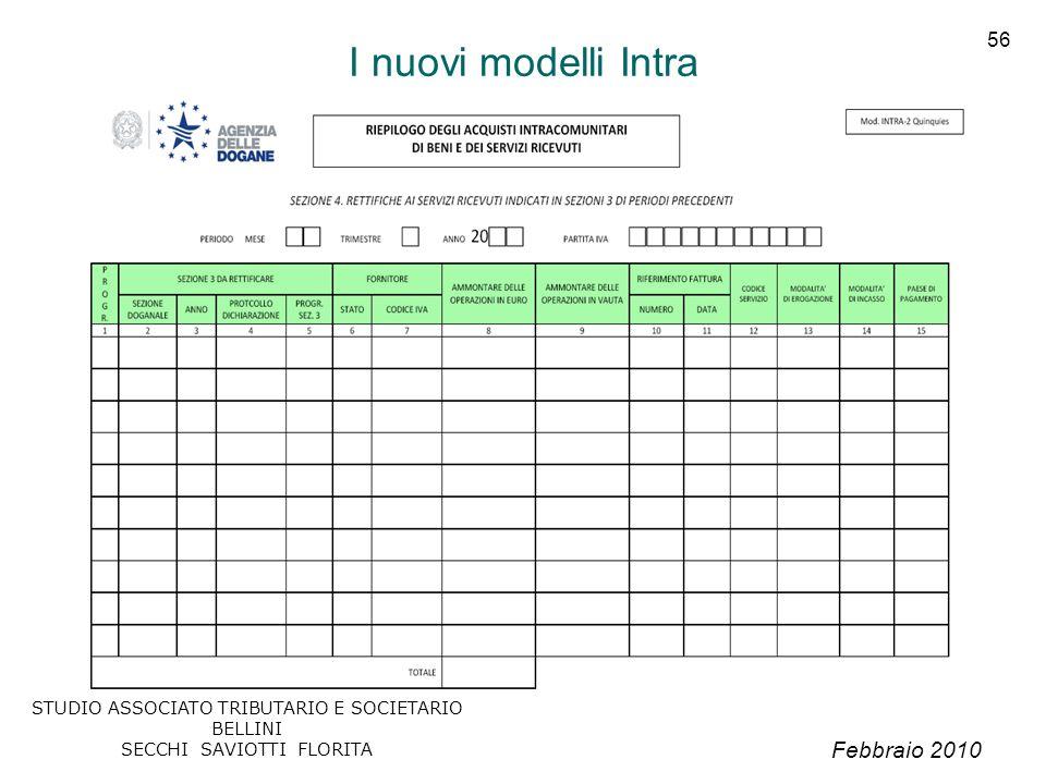 Febbraio 2010 STUDIO ASSOCIATO TRIBUTARIO E SOCIETARIO BELLINI SECCHI SAVIOTTI FLORITA 56 I nuovi modelli Intra