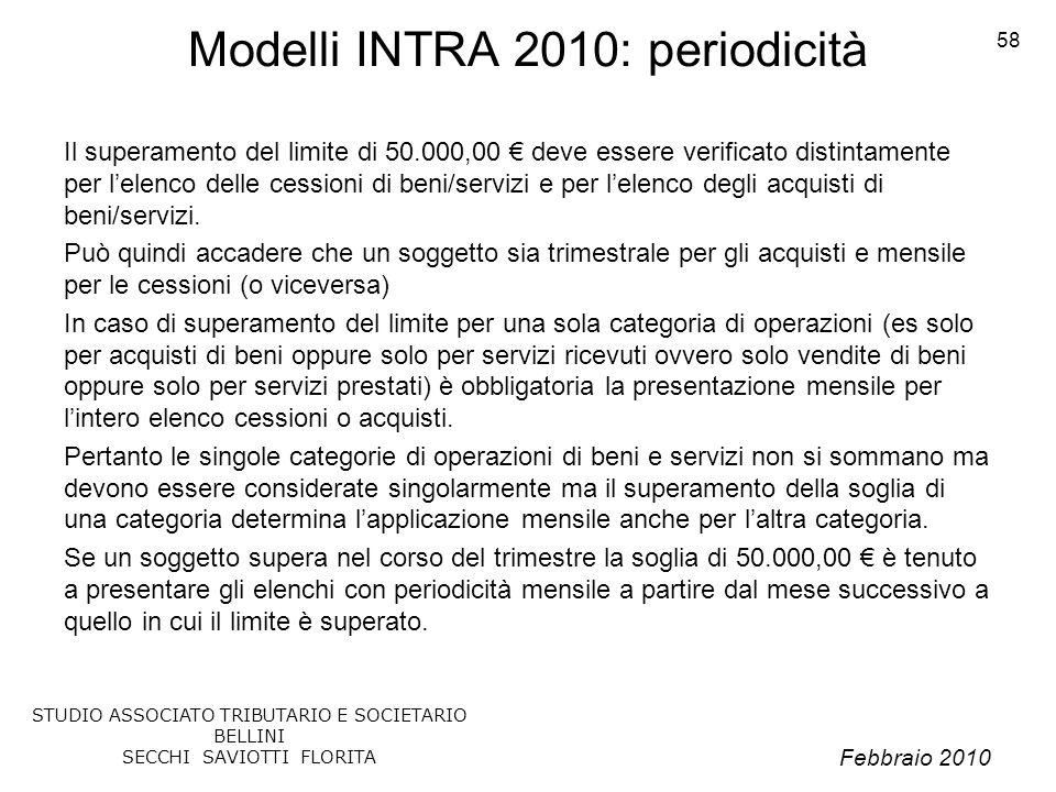 Febbraio 2010 STUDIO ASSOCIATO TRIBUTARIO E SOCIETARIO BELLINI SECCHI SAVIOTTI FLORITA 58 Modelli INTRA 2010: periodicità Il superamento del limite di