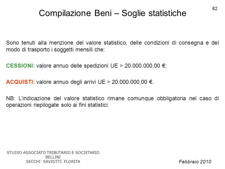 Febbraio 2010 STUDIO ASSOCIATO TRIBUTARIO E SOCIETARIO BELLINI SECCHI SAVIOTTI FLORITA 62 Compilazione Beni – Soglie statistiche Sono tenuti alla menz