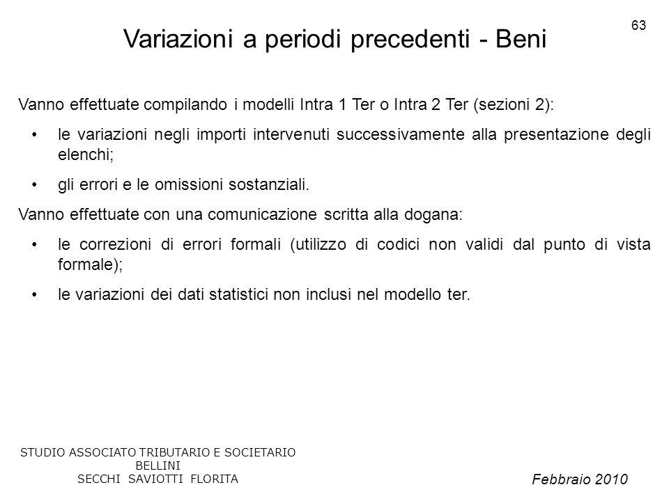Febbraio 2010 STUDIO ASSOCIATO TRIBUTARIO E SOCIETARIO BELLINI SECCHI SAVIOTTI FLORITA 63 Variazioni a periodi precedenti - Beni Vanno effettuate comp