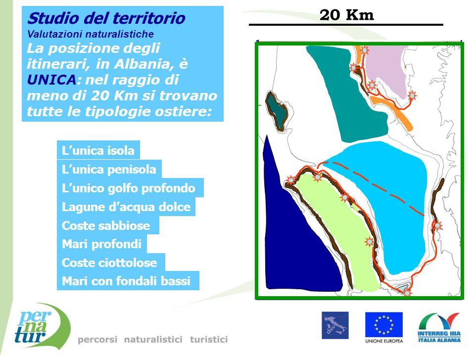 Studio del territorio Valutazioni naturalistiche La posizione degli itinerari, in Albania, è UNICA: nel raggio di meno di 20 Km si trovano tutte le ti