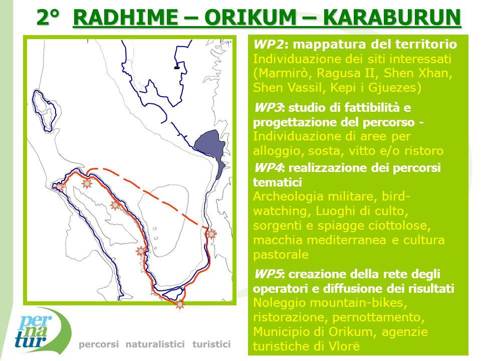 WP2: mappatura del territorio Individuazione dei siti interessati (Marmirò, Ragusa II, Shen Xhan, Shen Vassil, Kepi i Gjuezes) WP3: studio di fattibil