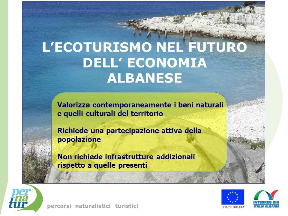 LECOTURISMO NEL FUTURO DELL ECONOMIA ALBANESE Valorizza contemporaneamente i beni naturali e quelli culturali del territorio Richiede una partecipazio