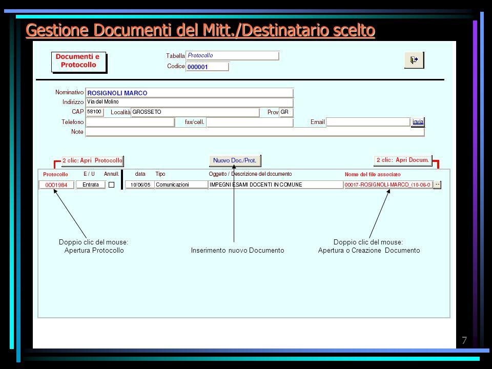 Sissi.Doc7 Gestione Documenti del Mitt./Destinatario scelto Doppio clic del mouse: Apertura Protocollo Doppio clic del mouse: Apertura o Creazione Documento Inserimento nuovo Documento