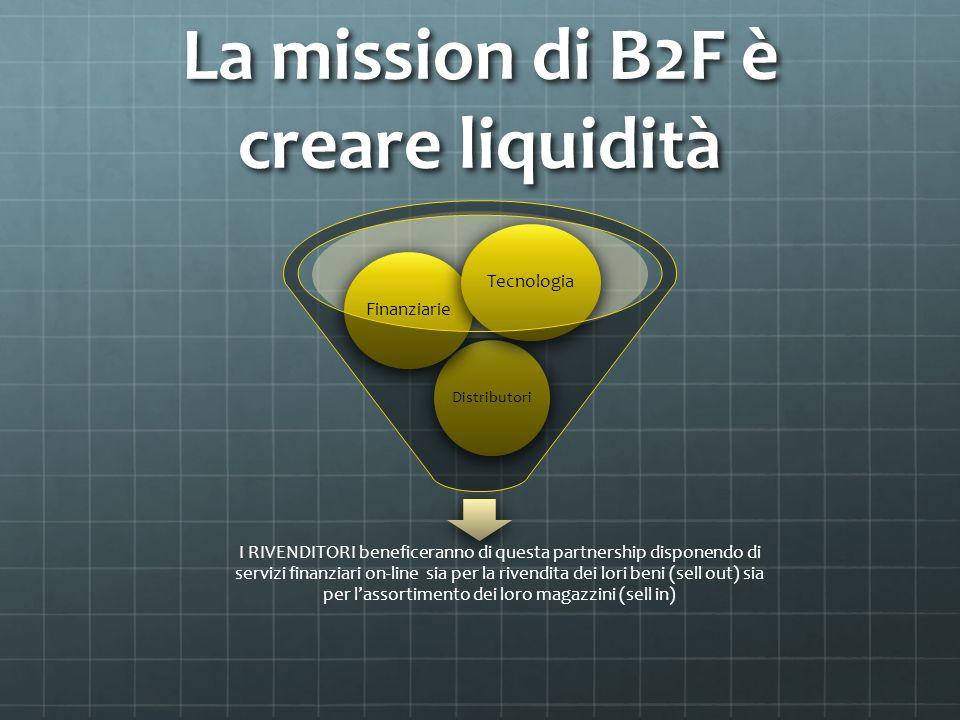 La mission di B2F è creare liquidità I RIVENDITORI beneficeranno di questa partnership disponendo di servizi finanziari on-line sia per la rivendita d