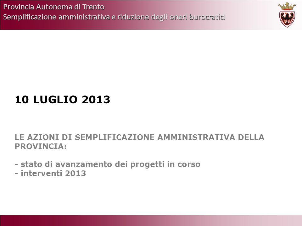 Provincia Autonoma di Trento Semplificazione amministrativa e riduzione degli oneri burocratici 10 LUGLIO 2013 LE AZIONI DI SEMPLIFICAZIONE AMMINISTRA